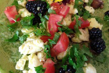 savoury green pancakes with blackberries
